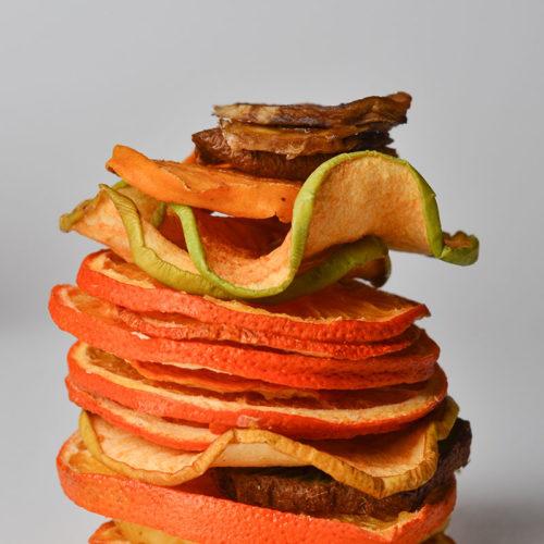 Чіпси з овочів і фруктів (яблука, цитрусові)